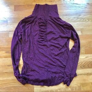 prAna Taryn turtleneck back ruching purple